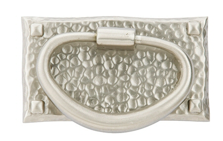 Satin Nickel (US15) Hammered Oval Ring Pull - Arts & Crafts Collection by Emtek