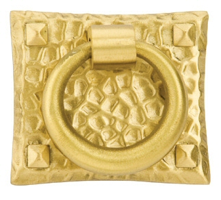 Satin Brass (US4) Hammered Ring Pull - Arts & Crafts Collection by Emtek