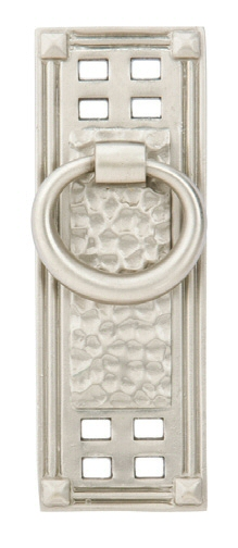 Satin Nickel (US15) Hammered Vertical Ring Pull - Arts & Crafts Collection by Emtek