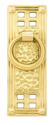 Satin Brass (US4) Hammered Vertical Ring Pull - Arts & Crafts Collection by Emtek