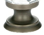 Pewter (US15A) Clear Deco Cabinet Knob - Crystal Collection by Emtek