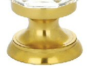 Polished Brass (US3) Clear Deco Cabinet Knob - Crystal Collection by Emtek