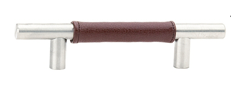 Brown Leather Wrapped Bar Pull - Stainless Steel Collection by Emtek