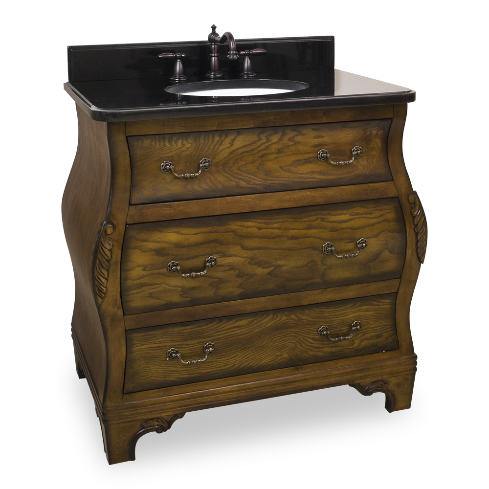 (click image to view larger image) Walnut Bombe Vanity