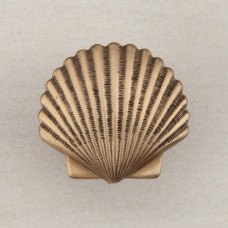 Small Scallop Cabinet Knob - Museum Gold (DPAGP) by Acorn