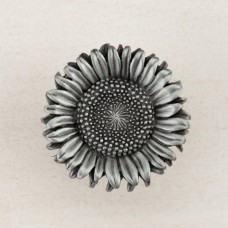 Sunflower Cabinet Knob - Antique Pewter (DQ8PP) by Acorn