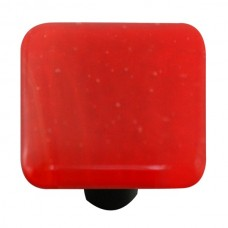 "Solids Brick Red Square Cabinet Knob (1-1/2"") by Aquila Art Glass"
