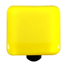 "Solids Canary Yellow Square Cabinet Knob (1-1/2"") by Aquila Art Glass"