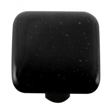 "Solids Black Square Cabinet Knob (1-1/2"") by Aquila Art Glass"