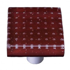 "Bubbles Deep Red Square Cabinet Knob (1-1/2"") by Aquila Art Glass"
