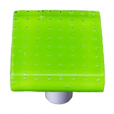 "Bubbles Spring Green Square Cabinet Knob (1-1/2"") by Aquila Art Glass"