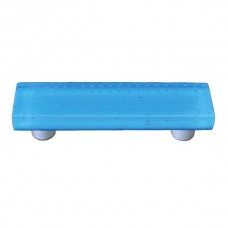 "Bubbles Cyan Rectangle Drawer Pull (3"" cc) by Aquila Art Glass"