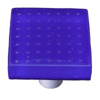 "Bubbles Cobalt Blue Square Cabinet Knob (1-1/2"") by Aquila Art Glass"