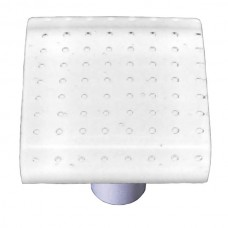 "Bubbles White Square Cabinet Knob (1-1/2"") by Aquila Art Glass"