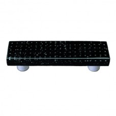 "Bubbles Black Rectangle Drawer Pull (3"" cc) by Aquila Art Glass"