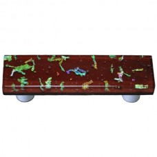 "Confetti Deep Red Rectangle Drawer Pull (3"" cc) by Aquila Art Glass"