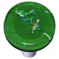 "Confetti Dark Forest Green Round Cabinet Knob (1-1/2"") by Aquila Art Glass"