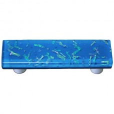 "Confetti Egyptian Blue Rectangle Drawer Pull (3"" cc) by Aquila Art Glass"