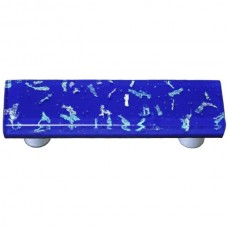 "Confetti Deep Cobalt Blue Rectangle Drawer Pull (3"" cc) by Aquila Art Glass"