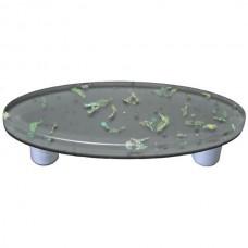 "Confetti Deco Gray Oval Drawer Pull (3"" cc) by Aquila Art Glass"