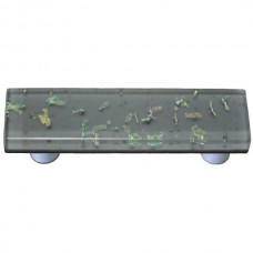 "Confetti Deco Gray Rectangle Drawer Pull (3"" cc) by Aquila Art Glass"