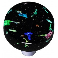 "Confetti Black Round Cabinet Knob (1-1/2"") by Aquila Art Glass"