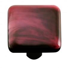 "Swirl Dark Cranberry Swirl Square Cabinet Knob (1-1/2"") by Aquila Art Glass"