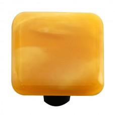 "Swirl Amber Swirl Square Cabinet Knob (1-1/2"") by Aquila Art Glass"