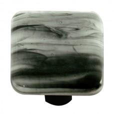 "Swirl Black Swirl White Square Cabinet Knob (1-1/2"") by Aquila Art Glass"