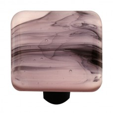 "Swirl Black Swirl Petal Pink Square Cabinet Knob (1-1/2"") by Aquila Art Glass"