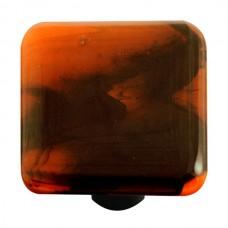 "Swirl Black Swirl Opal Orange Square Cabinet Knob (1-1/2"") by Aquila Art Glass"