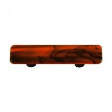"Swirl Black Swirl Opal Orange Rectangle Drawer Pull (3"" cc) by Aquila Art Glass"