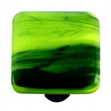 "Swirl Black Swirl Spring Green Square Cabinet Knob (1-1/2"") by Aquila Art Glass"