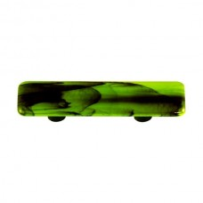 "Swirl Black Swirl Spring Green Rectangle Drawer Pull (3"" cc) by Aquila Art Glass"