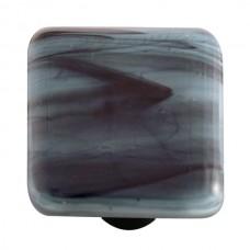 "Swirl Black Swirl Powder Blue Square Cabinet Knob (1-1/2"") by Aquila Art Glass"