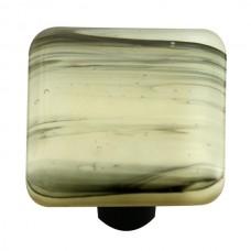 "Swirl Black Swirl French Vanilla Square Cabinet Knob (1-1/2"") by Aquila Art Glass"