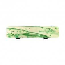 "Mardi Gras Green MG White Rectangle Drawer Pull (3"" cc) by Aquila Art Glass"