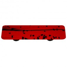 "Mardi Gras Black MG Red Rectangle Drawer Pull (3"" cc) by Aquila Art Glass"