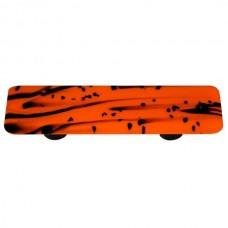 "Mardi Gras Black MG Orange Rectangle Drawer Pull (3"" cc) by Aquila Art Glass"