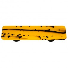 "Mardi Gras Black MG Sunflower Yellow Rectangle Drawer Pull (3"" cc) by Aquila Art Glass"