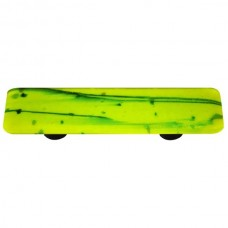 "Mardi Gras Green MG Spring Green Rectangle Drawer Pull (3"" cc) by Aquila Art Glass"