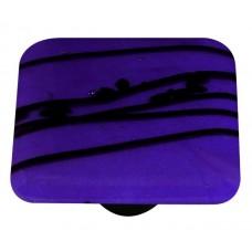 "Mardi Gras Black MG Cobalt Blue Square Cabinet Knob (1-1/2"") by Aquila Art Glass"