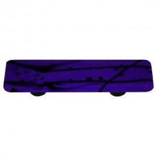 "Mardi Gras Black MG Cobalt Blue Rectangle Drawer Pull (3"" cc) by Aquila Art Glass"