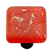 "Metals Fractures Brick Red Square Cabinet Knob (1-1/2"") by Aquila Art Glass"