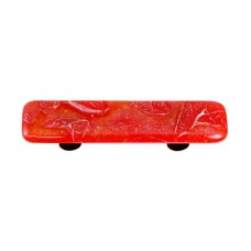 "Metals Fractures Brick Red Rectangle Drawer Pull (3"" cc) by Aquila Art Glass"