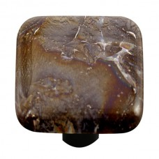"Metals Fractures Black Square Cabinet Knob (1-1/2"") by Aquila Art Glass"