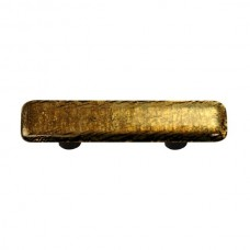 "Metals Gold Irid Rectangle Drawer Pull (3"" cc) by Aquila Art Glass"