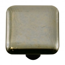 "Metals Silver Square Cabinet Knob (1-1/2"") by Aquila Art Glass"
