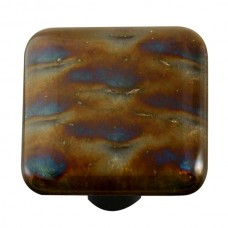"Metals Patterned Irid Square Cabinet Knob (1-1/2"") by Aquila Art Glass"