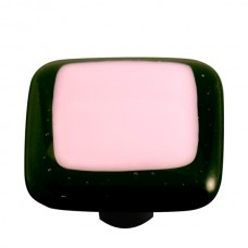 "Border Black Border Petal Pink Square Cabinet Knob (1-1/2"") by Aquila Art Glass"